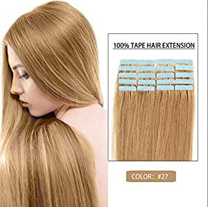 """Futuretrend 20 Pcs 16"""" 18"""" 20"""" 22"""" 24"""" Inches Remy Pu Tape Skin Weft 100% Human Hair Extensions 19 Colors of #27"""
