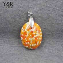 fashion big stone pendant design murano glass egg shaped stone pendant