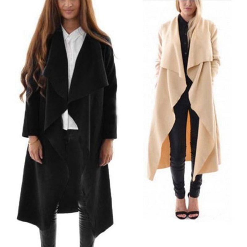 Осень весна леди женщины половина рукава водопад куртка пояса большой лацкан мода кардиган