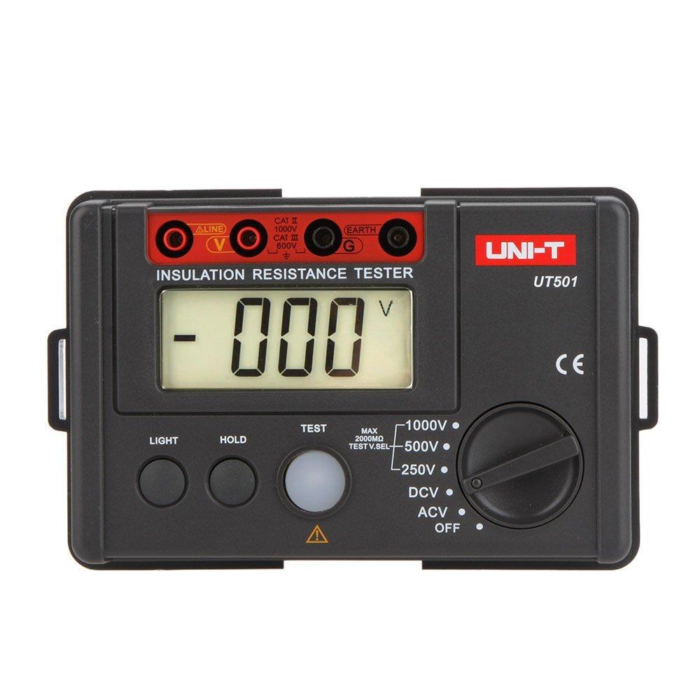 UNI-T UT501 Insulation Resistance Testers Megohmmeter Voltmeter DVM 1000V 2000MΩ W/ LCD Backlight