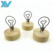 Promotional gifts customer logo light lamp bulb shape wooden memo clips