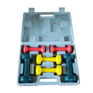 6KGS PVC Vinyl dipping Dumbbell set with carry case
