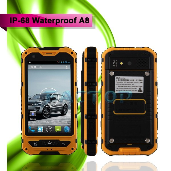 Newest A8 IP68 water-dust-shock proof 4.0inch 2G+3G smartphone mobile phone