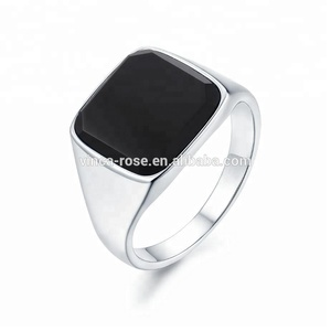 unisex stainless steel 316 agate men ring gold plated jewelry black onyx gem stones price ring
