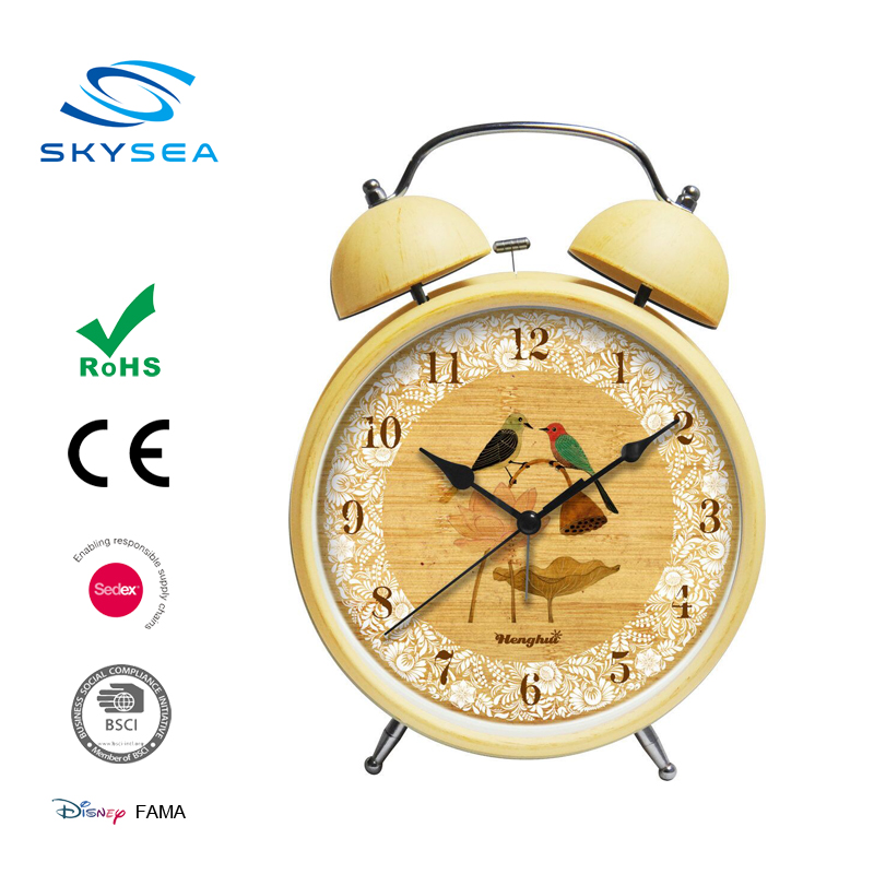 Simple style home goods wooden table quartz alarm clock