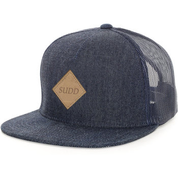 85a47243093 Custom 5 panel Flat Brim jeans Snapback mesh Trucker Cap hat with leather  patch logo