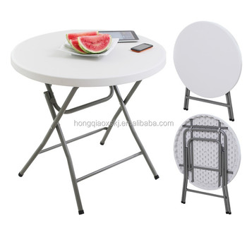 High Quality 80cm Small Plastic Round Folding Table With Steel Legs For  Dinning, Catering,