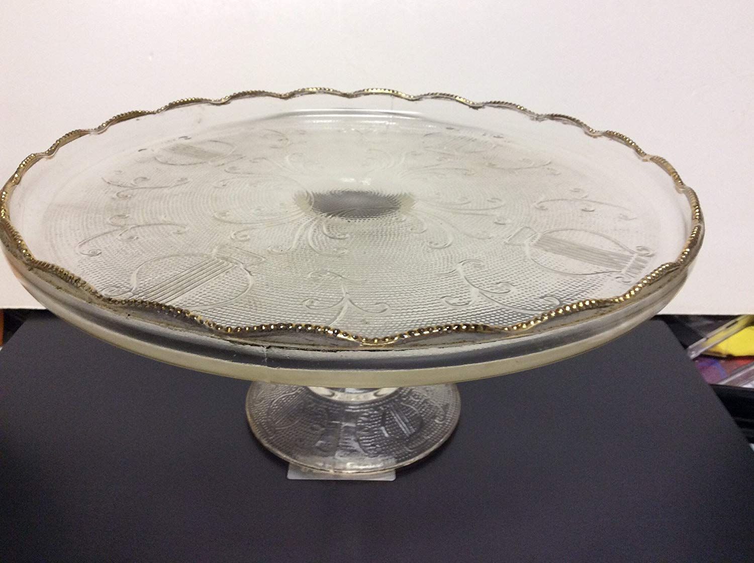 Badash D106S Silver Colored and White Glass Footed Cake Plate Badash Crystal