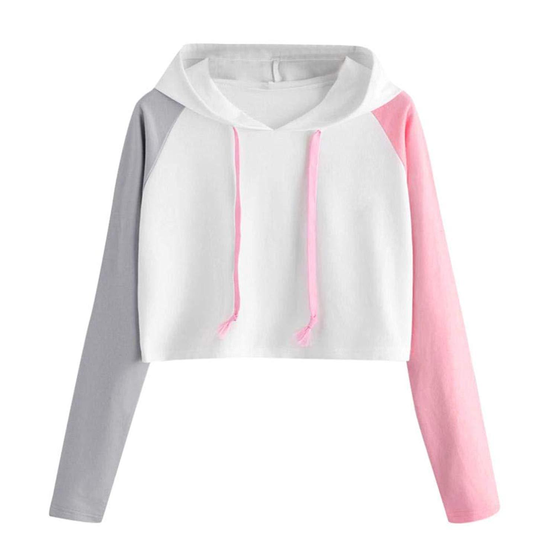 Womens Teen Girl Casual 3 Color Patchwork Long Sleeve Crop Hoodie Top Blouse Sweatshirt Pullover