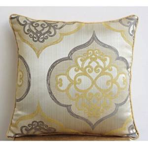 "Luxury Throw Pillow Covers 22""x22"", Yellow Throw Pillows Cover, Damask Throw Pillows Cover, Jacquard Weave Square Decorative Pillows Cover, Floral Contemporary Pillows Cover - Damask Galore"
