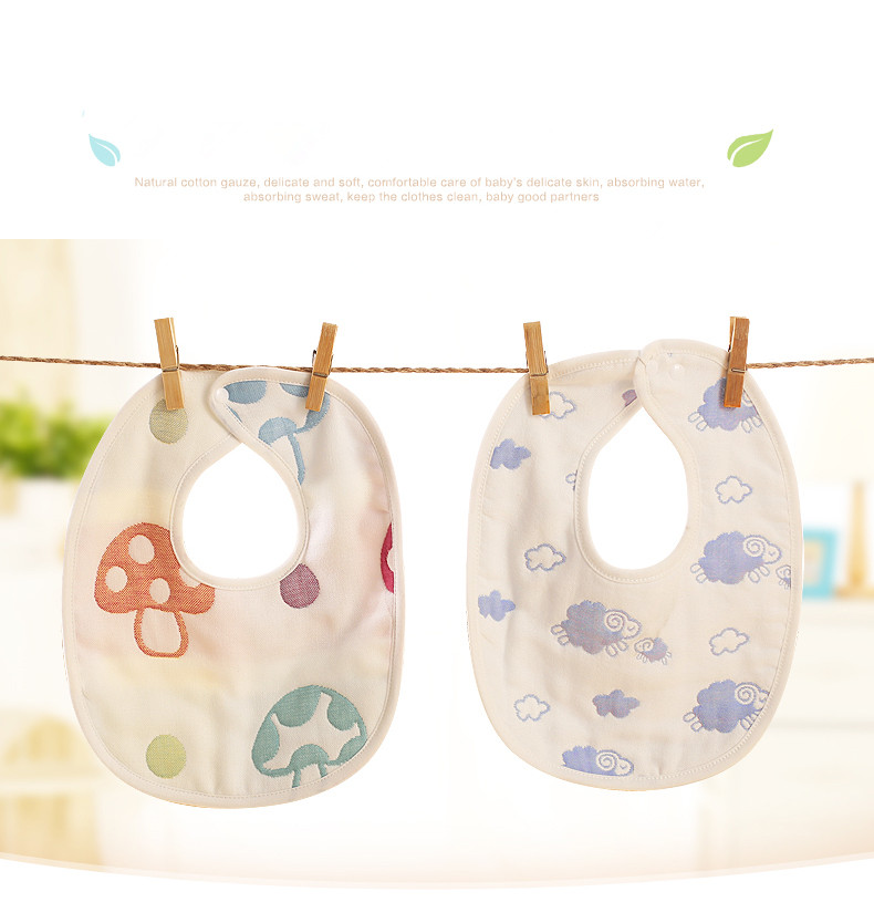 2017 new arrival Wholesale cheap cotton baby bib 6 Layer Soft Cotton Baby Bibs