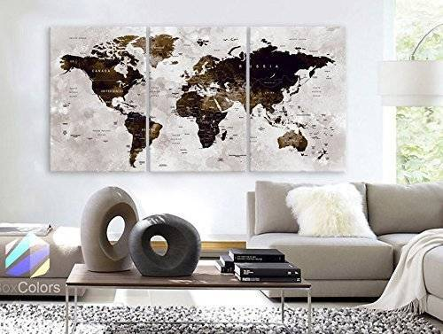 "Original by BoxColors LARGE 30""x 60"" 3 Panels 30""x20"" Ea Art Canvas Print Watercolor Map World countries cities Push Pin Travel Wall color Brown beige dark decor Home interior (framed 1.5"" depth)"