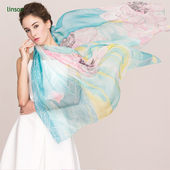 China Custom Pretty Fashion 100% Chiffon Silk Scarf Floral Painted Scarf Vintage Silk Scarf