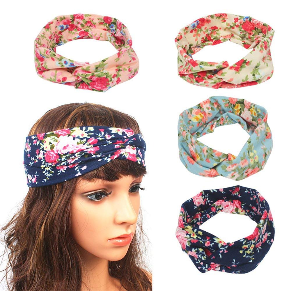 3e55f4af8cc Get Quotations · Women Headbands Head Wraps Hair Band Bows Accessories  Elastic Turban Head Wrap Floal Style Hair Band