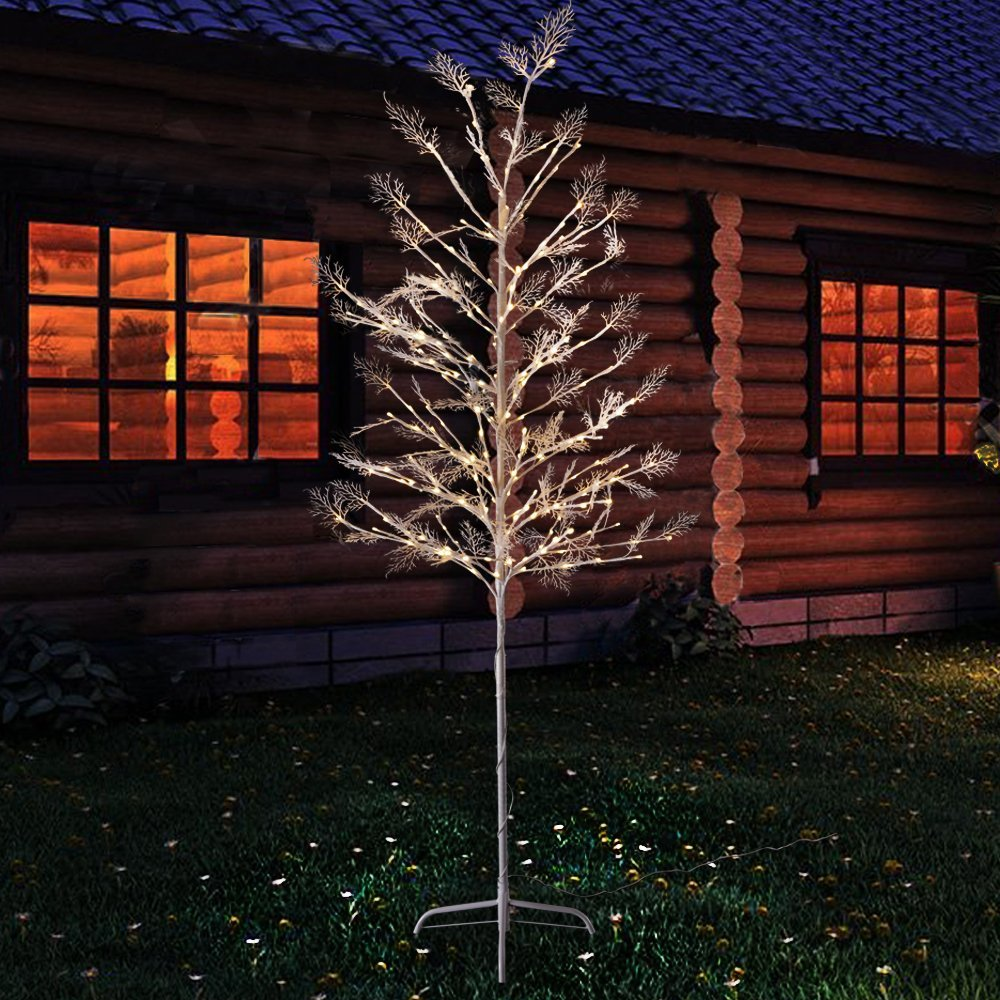 Fashionlite 6-Feet White Snow Tree, 216 LED Lights, Warm White for Home Garden, Wedding, Christmas, Festival Indoor and Outdoor Use