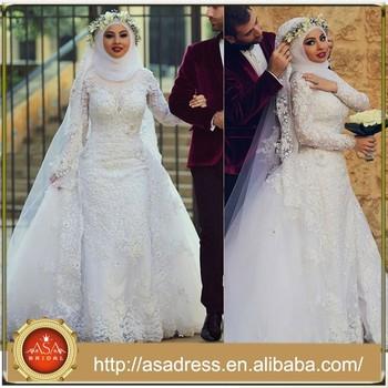 2015 Latest Long Sleeve Lace Removable Train Hijab Muslim Wedding ...