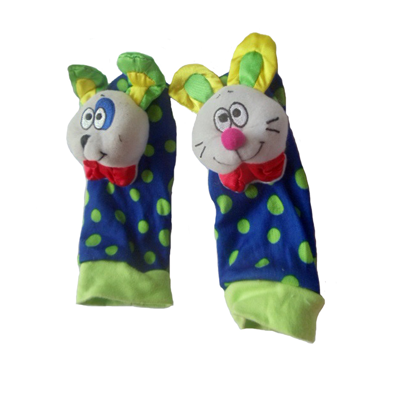 0 12 Month Cute Bunny Socks Soft Baby Rattles & Mobiles Rabbit Toy Crinkle Inside