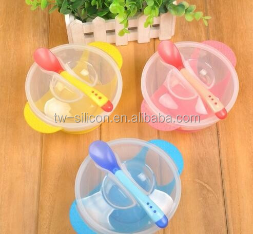 Plastic Silicone Suction Baby Feeding Bowl with Lid