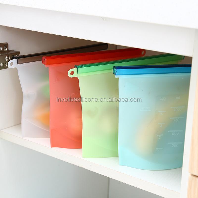 Food grade BPA free reusable silicone ziplock food storage preservation bag