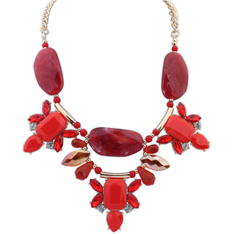 Hot Promotion! Ruby Gem Stone Pebble Necklace Alloy ...