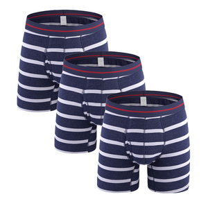 WDFS 3 pieces Stripes underpants elastic waistband cotton underwear men boxer briefs underpants for men