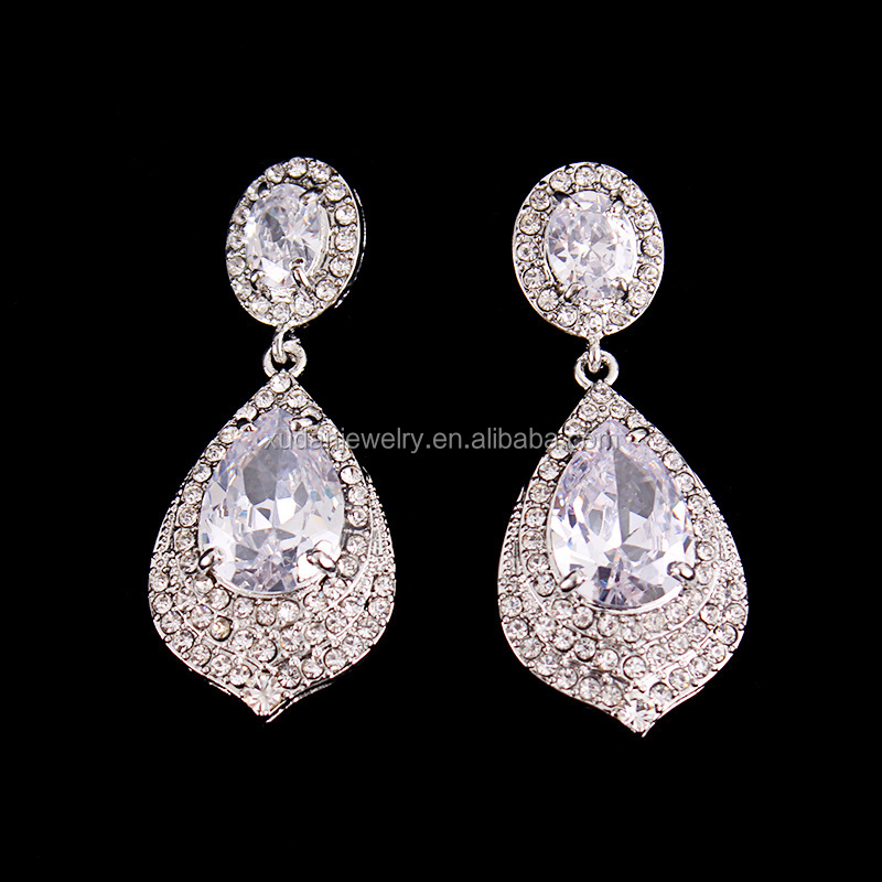 2017 Antique Brass Rhodium Plated Micro Pave Cubic Zirconia Tear Drop Wedding Prom Bridal Earring