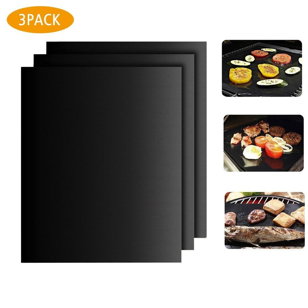 Aolvo BBQ Grill Mat Set of 3, Heavy Duty Non-stick Barbecue Grill & Baking Mats Reusable and Easy to Clean Works on Gas, Charcoal, Electric Grill and More