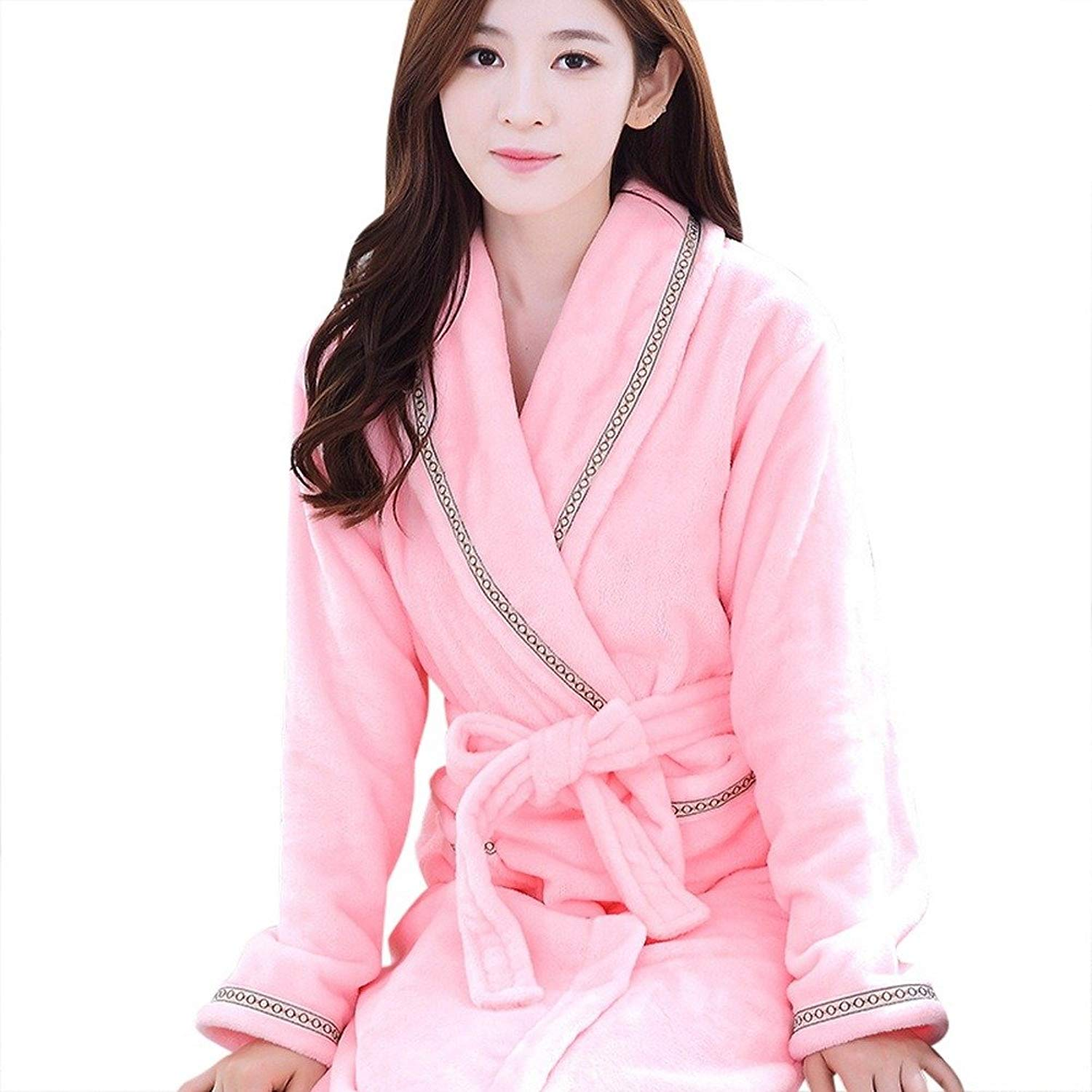 Get Quotations · Depaud Womens Classical Fuzzy Thermal Flannel Bath Robes  Loungewear 4132832a1