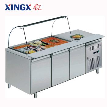 3 Door Top Open Food Pan Counter Refrigerator Gx Gn3100salgc