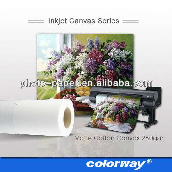 Matte Inkjet Cotton Canvas for Giclee Printing (sheet & plotter roll size, canvas frame, gloss cotton canvas suppliable)
