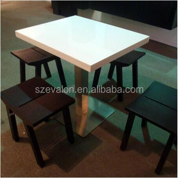 Modern Design Cafe Artificial Marble Stone Dining Tables Chair Set,square Cafe  Table And Chairs