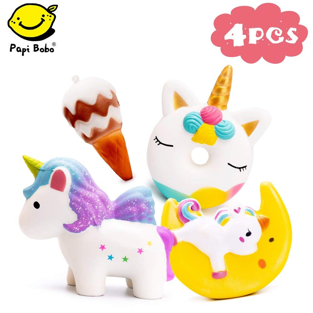 SYYISA Jumbo Squishy - Cute Colored Unicorn, Unicorn Donut, Moon Unicorn and Ice Cream Set, Kawaii Cream Scented Squishies Slow Rising Decompression Squeeze Toys for Kids, 4 Piece