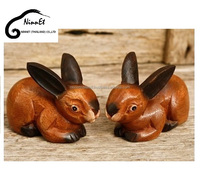 Crafts wooden Rabbits from Thailand