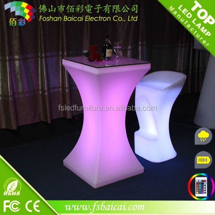 New design PE led light dinner table party bar furniture coffee table cocktail table