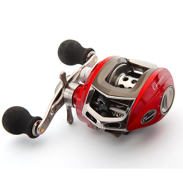 CEMREO 8kg 18BB Right Hand Left Hand Magnetic Baitcasting Fishing Reel, Red/blue