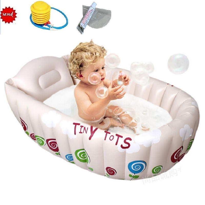 Inflatable Baby Bathtub Heat Preservation Inflating Bath Tub Non slip Protable Swimming Pool Newborn Infant Bath