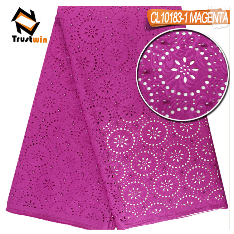 2017 china supplier wholesale 100% cotton laser cut flowers lace fabric africanwith stones for garment