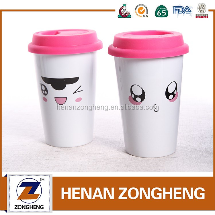 450ml ceramic travel mug with silicone lid cover