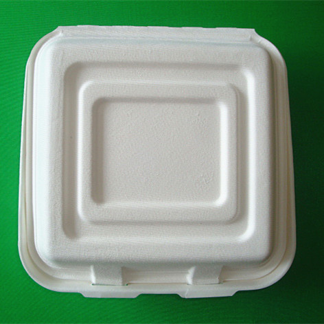 Disposable Eco Friendly 3 Compartments Sugar Cane Bagasse Clamshell To Go Food Container