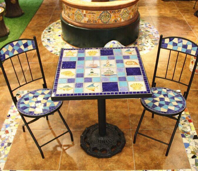 Tavolo da giardino in ferro battuto e sedie mosaico di ceramica per il tempo libero insieme - Tavoli da giardino in ferro battuto e mosaico ...