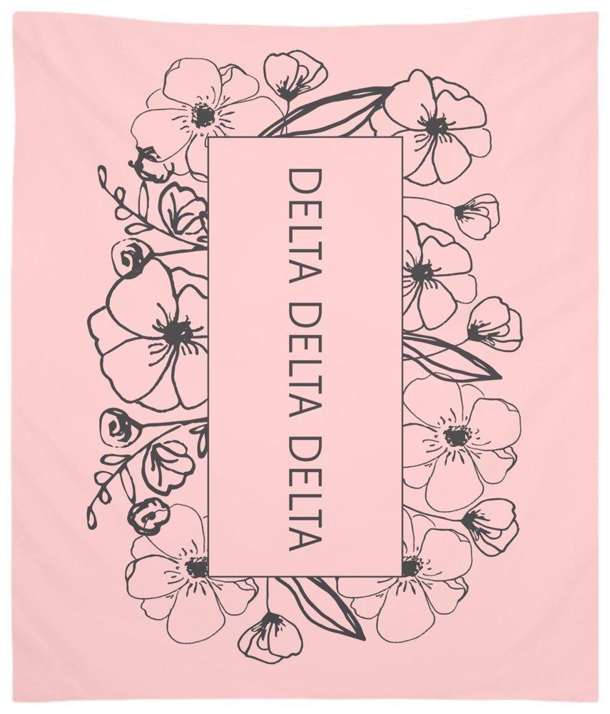 Delta Delta Delta (Tri Delta) Flower Box Wall Tapestry for Bedroom or Dorm