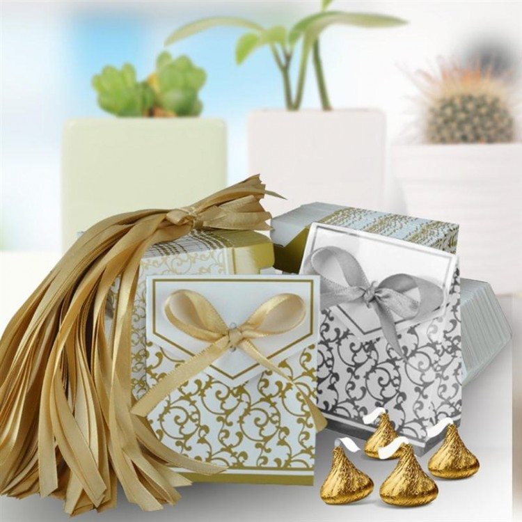 Gold Ribbon Wedding Favour Sweet  Gift Romantic Heart Candy Box For Wedding Decoration