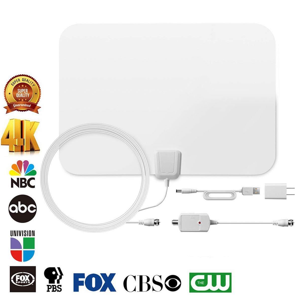 FidgetFidget Antenna 60 Mile Thin Flat Indoor HDTV Amplified HD TV 16FT Coax White 1080p