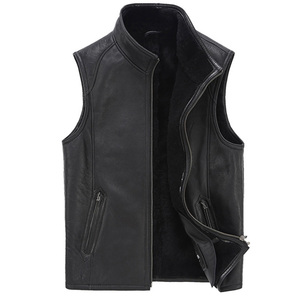 High Quality Stylish Classic Design Sheepskin Leather Vest For Men