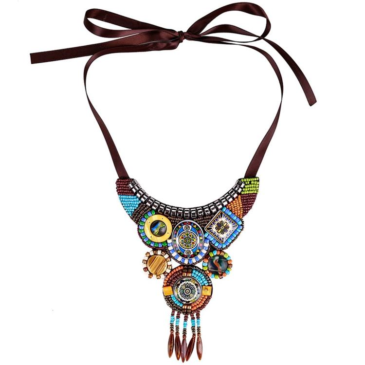 Women's Ethnic Statement Handmade Bohemian Jewelry Necklace фото