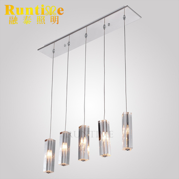 Pendant Light With K9 Crystal Drop Island Lights Stainless Steel Ceiling Fixture For Dining Room Bar Lighting