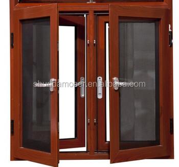 Wood Security Glass Window Mosquito Net