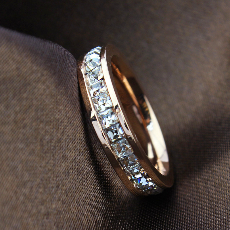 Woman Fashion Ring Rose Gold Filled Titanium Steel Rings For Women Female 2015 Summer Fine Jewelry