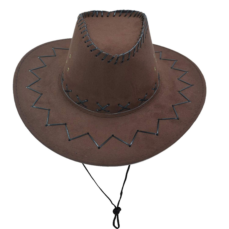 Get Quotations · Yosang Western Unisex Adult Cowboy Suede Leather Hat Wide  Brim Sun Cap 8368015ed4a9