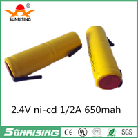 Original New 2.4V 1/2A 650mAh Ni-CD Rechargeable Battery Ni-MH 1/2A Batteries With Pins